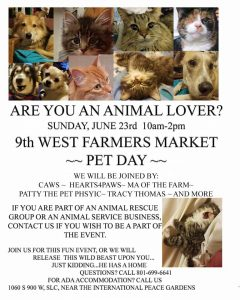 Pet Day @ 9th West Farmer's Market | Salt Lake City | Utah | United States